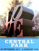 "Robert Indiana - Central Park The LOVE sculpture, which travelled to seven cities, was first seen publicly in the exhibition ""Seven Outdoors"". This print was made for its final showing in Central Park, New York Dec 1971-Jan 1972. Signed and dedicated ""For Leo + Evelyn""."