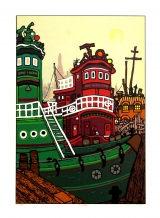 Edward Sokol - Tugboats Screenprint, edition of 300. Signed in pencil.