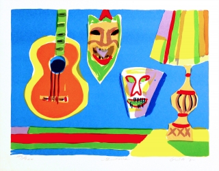 John Grillo - Guitarra Original 1980 serigraph in colors. Limited edition of 200 plus 25 artist proofs. Hand signed, dated and titled in pencil by the artist.