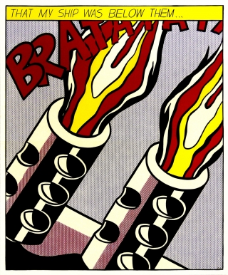 Roy Lichtenstein - As I Opened Fire One third (right) of the triptych, which when framed measures 65cm x 160cm. Total price for the 3 framed posters $1550.00.<br />